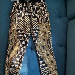 BCBG MaxAria Tribal Silk Pants Size S